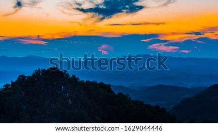 Twilight landscape mountain at Sri Nan National Park Park Park, Nan Province in Thailand