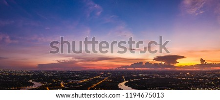 twilight landscape pandora lighting city river and blue sky in Thailand from drome camera #1194675013
