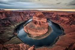 Twilight on Horseshoe Bend in Page Arizona