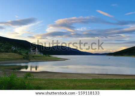 twilight on the Mavrovo Lake namesake National Park, Republic Of Macedonia