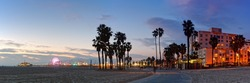 Twilight Panorama of Santa Monica Pier and Oceanfront Walk - Los Angeles California