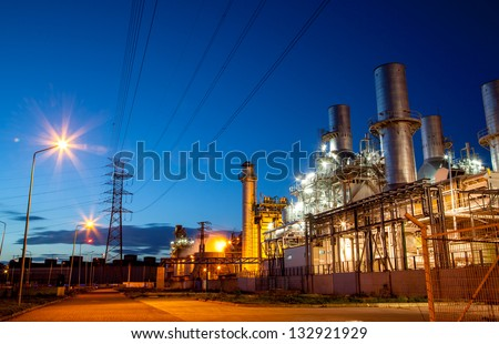 Twilight photo of power plant - stock photo