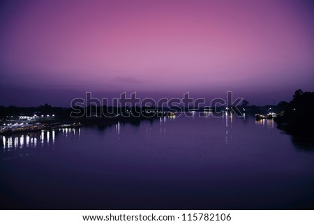 Twilight Riverside Ubon Ratchathani Thailand. - stock photo