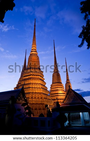 Twilight scene of Buddhist pagoda in Bangkok, Thailand