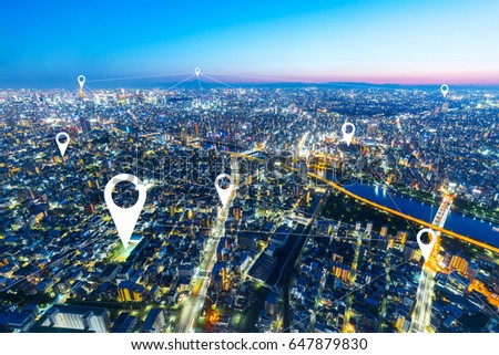 twilight scene of cityscape of modern intelligence city from top view #647879830