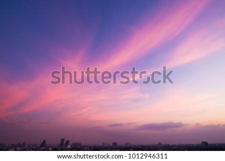 twilight sky after sunset over...