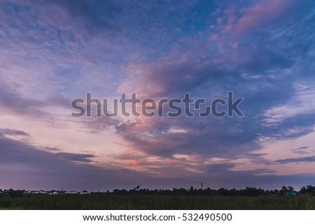 Twilight sky and beautiful cloudy