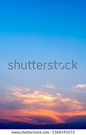 Twilight sky and cloud in sunset time