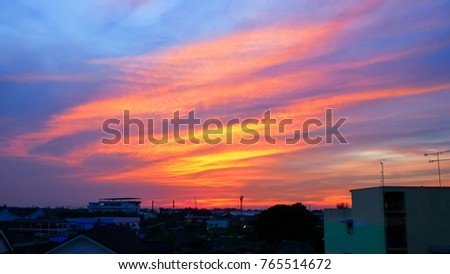 Twilight sky background with Colorful sky in twilight background #765514672