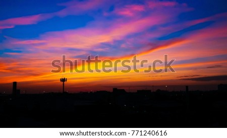 Twilight sky background with Colorful sky in twilight background, Twilight sky in town #771240616