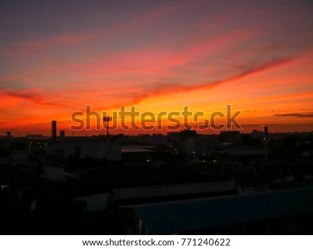 Twilight sky background with Colorful sky in twilight background, Twilight sky in town #771240622
