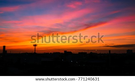 Twilight sky background with Colorful sky in twilight background, Twilight sky in town #771240631