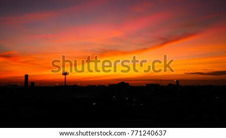 Twilight sky background with Colorful sky in twilight background, Twilight sky in town #771240637