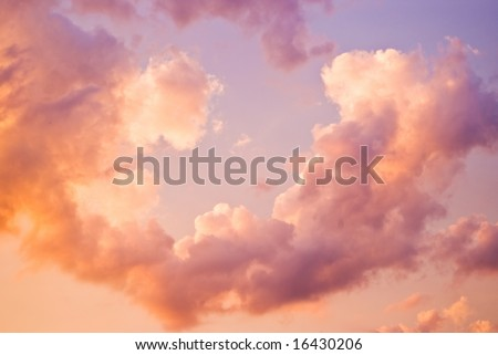 twilight sky with clouds and dreamy look