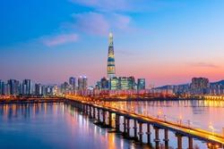 Twilight sunset at han river seoul korea