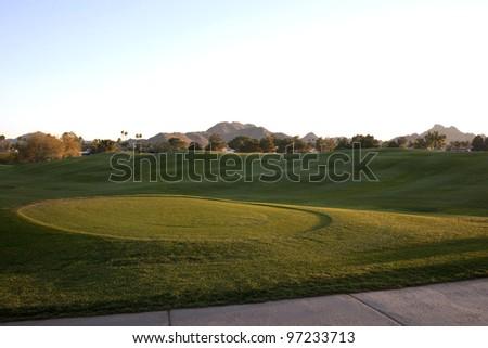 Twilight time on a desert golf course