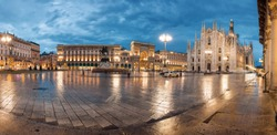 Twilight view of Cathedral, Vittorio Emanuele II Gallery and piazza del Duomo in Milan, Lombardia region, Italy.