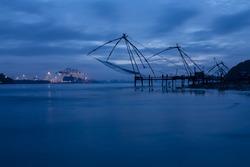 Twilight view of Chinese nets in Kochi kerala. A blue hour shot of Kerala