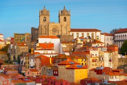 Twilight view of Ribeira historical district. Porto, Portugal