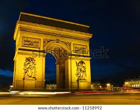 Twilight view of the Arc de Triomphe 01 (Arch of Triumph), Paris, France