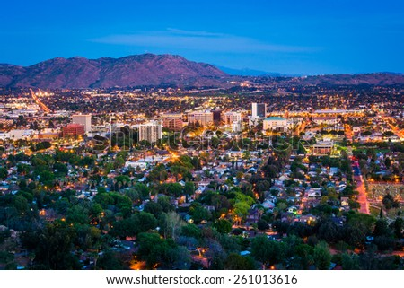Photo of  Twilight view of the city of Riverside, from Mount Rubidoux Park, in Riverside, California.