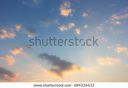 twilight white cloud on blue sky in morning sunrise. #684326632