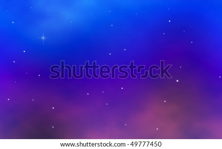 Twilight with blue sky, stars, and thin clouds
