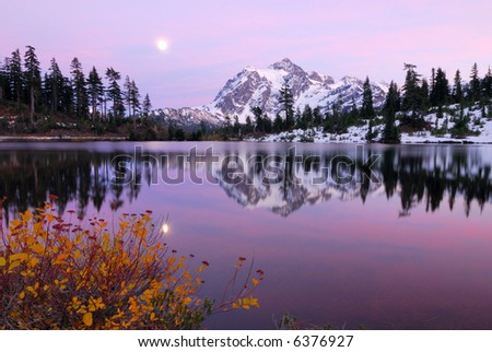 Twilight Zone at Picture Lake with a reflection of Mount Shuksan