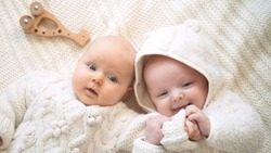 Twin Babies Playing Together On Cosy Knitted Blanket. Happy Childhood, Winter Or Fall Season, Coziness Concept.