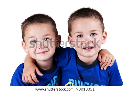 stock photo : twin brothers isolated