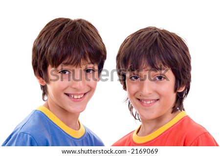 Twin Brothers With Casual Clothes, Smiling. Isolated Over ...