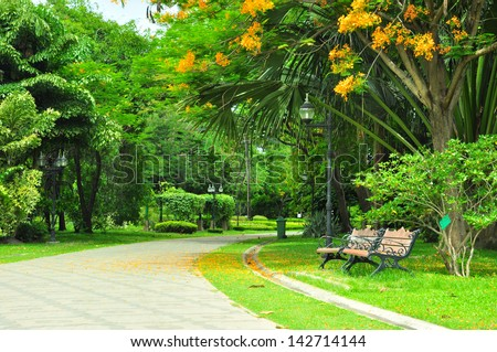 twin chair in the beautiful park. - Shutterstock ID 142714144