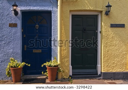 Twin doors in Brecon, Wales