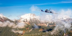 Twin Engine Airplane Flying over the Rocky Mountain Landscape. Adventure Composite. 3D Rendering Plane. Aerial Background from British Columbia near Vancouver, Canada.
