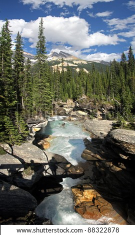 Twin Falls Bridge, Yoho National Park, British Columbia, Canada - stock photo