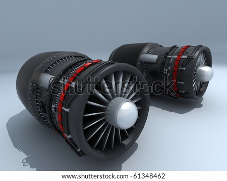 Twin Jet engines exposed