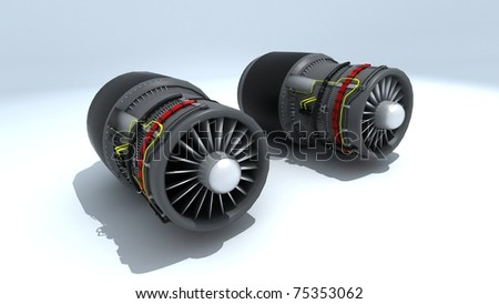 Twin Jet engines exposed on white background - stock photo