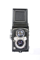Twin lens reflex old photo camera isolated on white