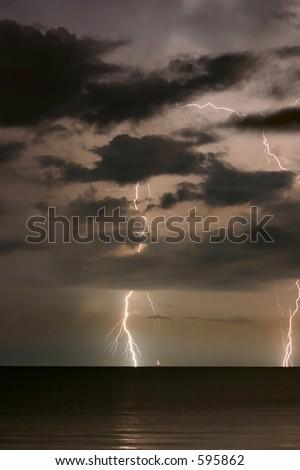 Twin Lighting strike on Florida Gulf Coast. Madeira beach Florida