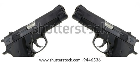 Twin 9mm Pistols isolated on white background