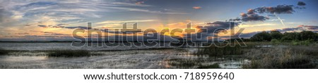Twin Oaks Conservation Area Sunset Panorama #718959640