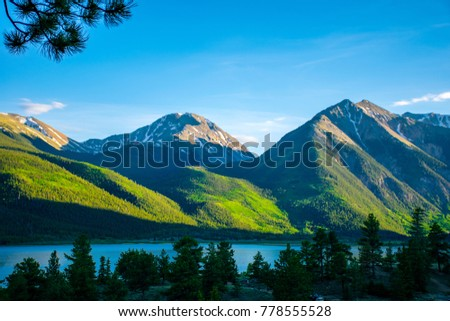 Twin Peaks at Mount Elbert the Tallest Peak in Colorado and the High Altitude Gorgeous Twin Lake down below. A Summer Landscape high in the Rocky Mountains of Colorado near Aspen in the Sawach Range