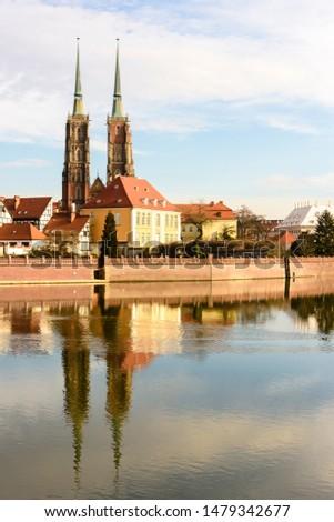 Twin spires of the Cathedral of St. John the Baptist (Katedra św. Jana Chrzciciela), Wrocław, Wroclaw, Wroklaw, Poland Zdjęcia stock ©
