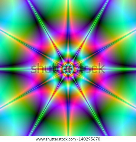 Twin Stars / Digital abstract fractal image with two intertwined stars in green, blue, orange and pink.