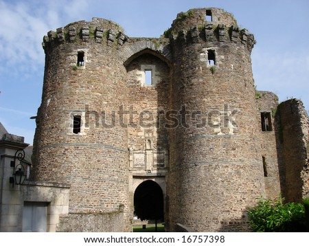 Twin tower entrance to Chateaubriant castle, Brittany, France