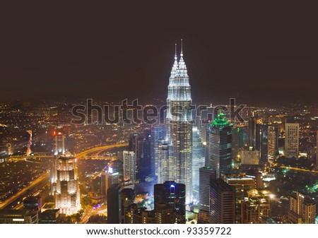 Twin towers at Kuala Lumpur (Malaysia) - architecture background - stock photo