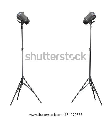 Twin up studio flash isolated on white background