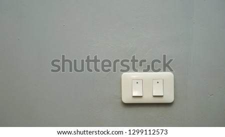 Twin white light switch on the gray cement wall, for copy space, background, backdrop and texture.