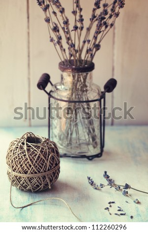 Twine ball with dry lavender. Retro style.