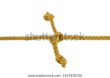 Twine rope or Jute Rope with Knot isolated on White Background with clipping path #1437878726
